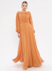 Yellow - V neck Collar - Fully Lined - Dress