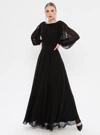 Black - V neck Collar - Fully Lined - Dress