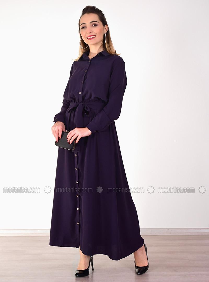 Plum - Point Collar - Dress