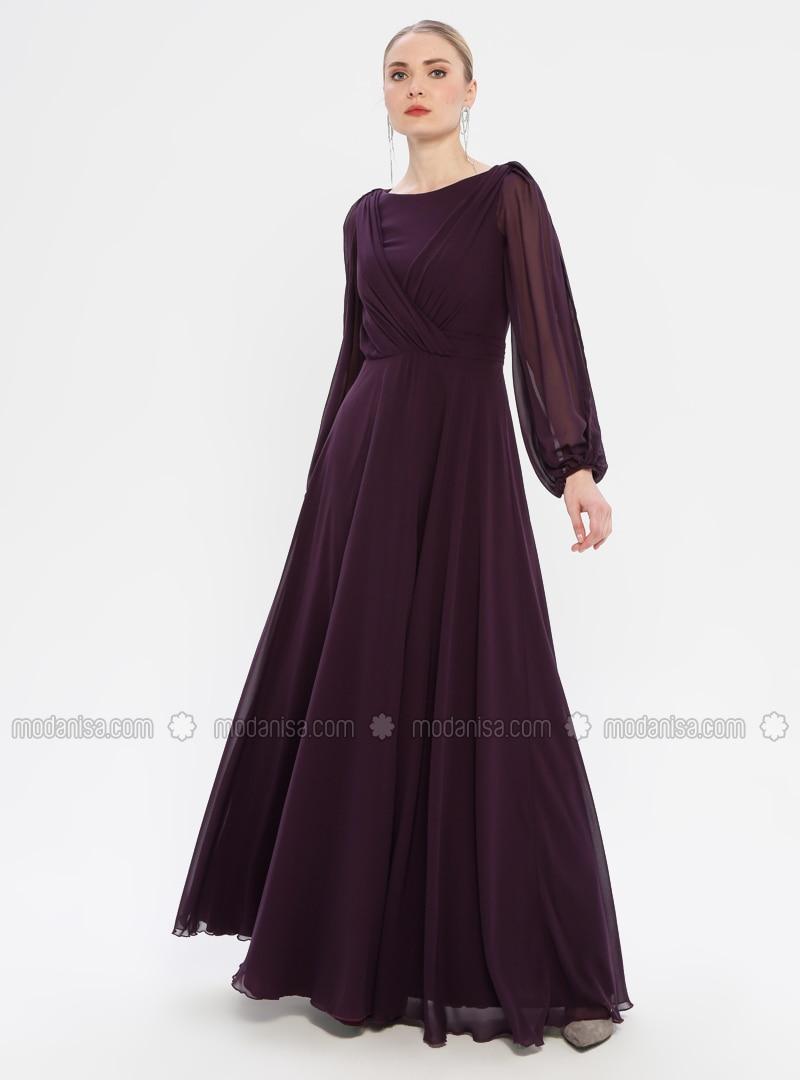 Purple , V neck Collar , Fully Lined , Dress