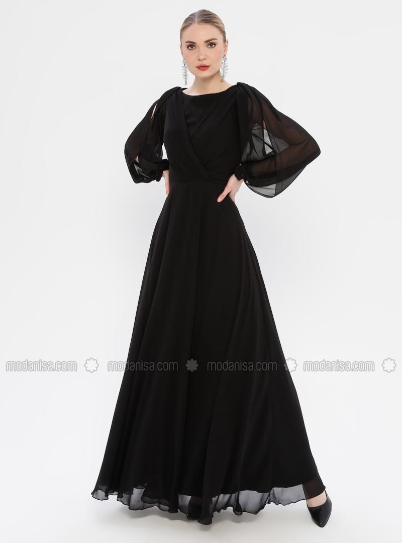 Schwarz  VAusschnitt  Mit Innenfutter  Hijab Kleid