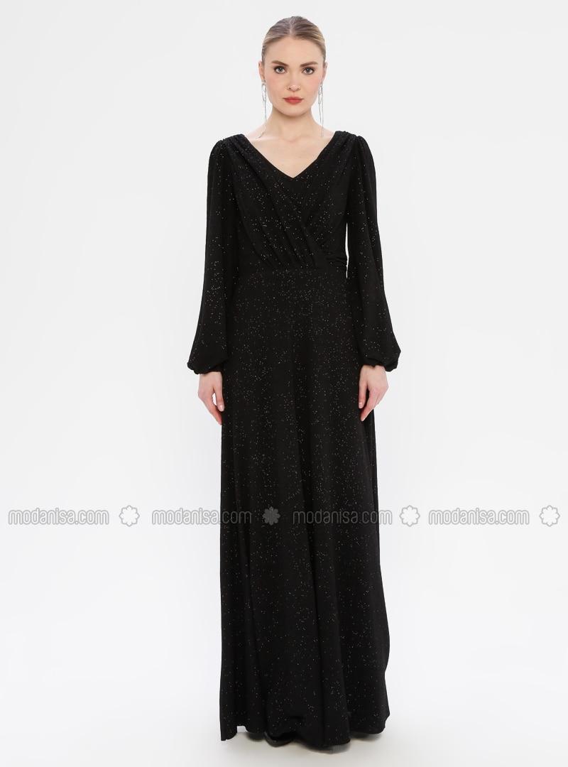 Black - Crew neck - Fully Lined - Dress