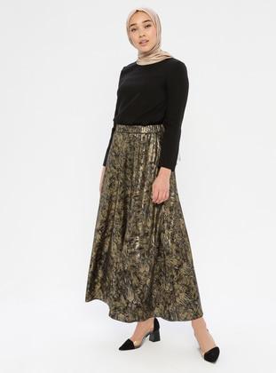 Gold - Black - Multi - Fully Lined - Skirt
