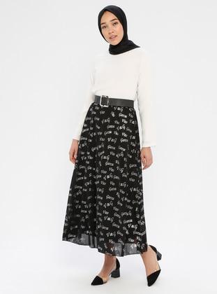 Silver tone - Black - Multi - Fully Lined - Skirt