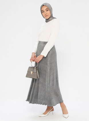 Silver tone - Black - Fully Lined - Skirt