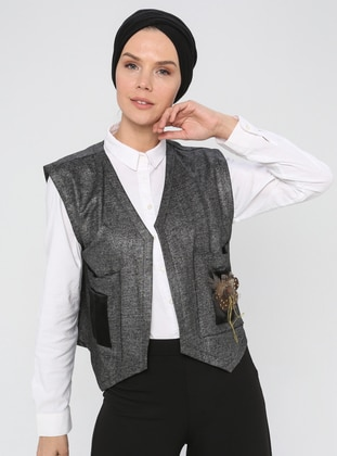 Gray - Unlined - V neck Collar -  - Vest