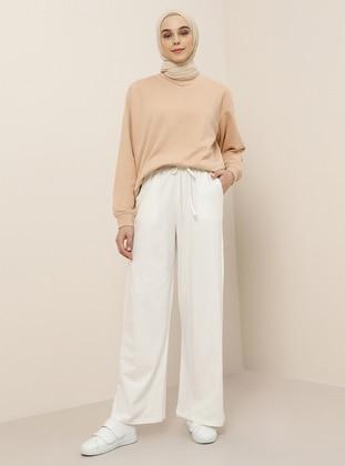 White - Ecru - Viscose - Pants