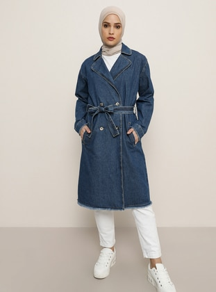 Blue - Shawl Collar - Denim - Topcoat