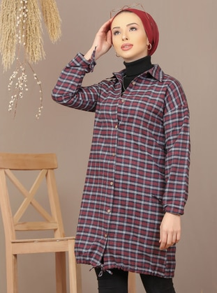 Maroon - Black - Checkered - Point Collar - Acrylic - Tunic - Tofisa