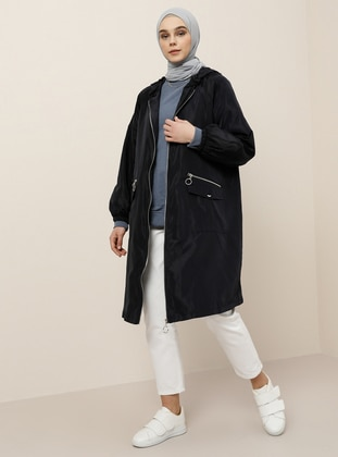 Navy Blue - Fully Lined - Trench Coat - Benin