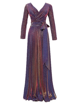 Gold - Blue - Fully Lined - V neck Collar - Modest Evening Dress