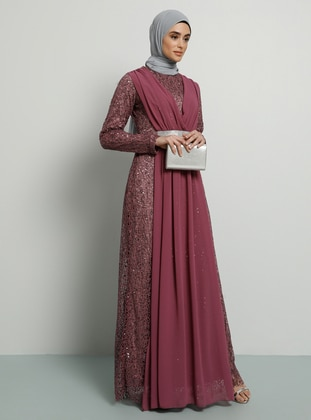 Dusty Rose - Fully Lined - Crew neck - Muslim Evening Dress - Tavin