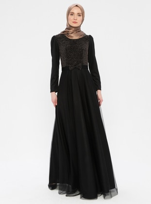 Gold - Black - Crew neck - Fully Lined - Dress