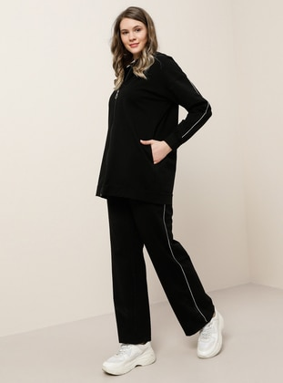 Black -  - Plus Size Tracksuit Sets