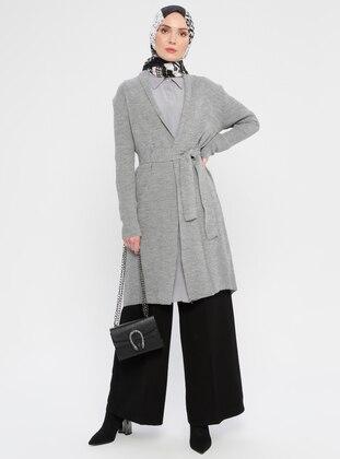 Gray - Shawl Collar - Acrylic -  - Viscose - Cardigan