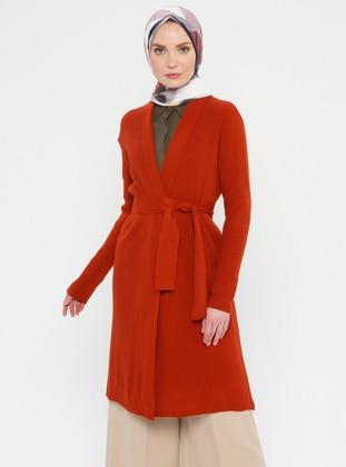 Terra Cotta - Shawl Collar - Acrylic -  - Viscose - Cardigan