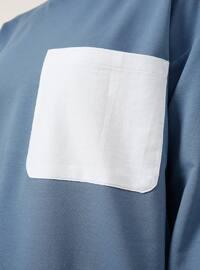 White - Blue - Crew neck -  - Tunic