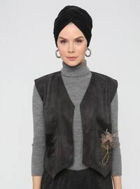 Black - Unlined - V neck Collar -  - Vest
