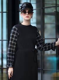 Siyah - Çok renkli - Yuvarlak yakalı - Astarsız - Elbise