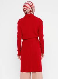 Red - Shawl Collar - Acrylic -  - Viscose - Cardigan