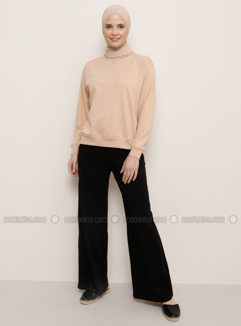 Black - Viscose - Pants