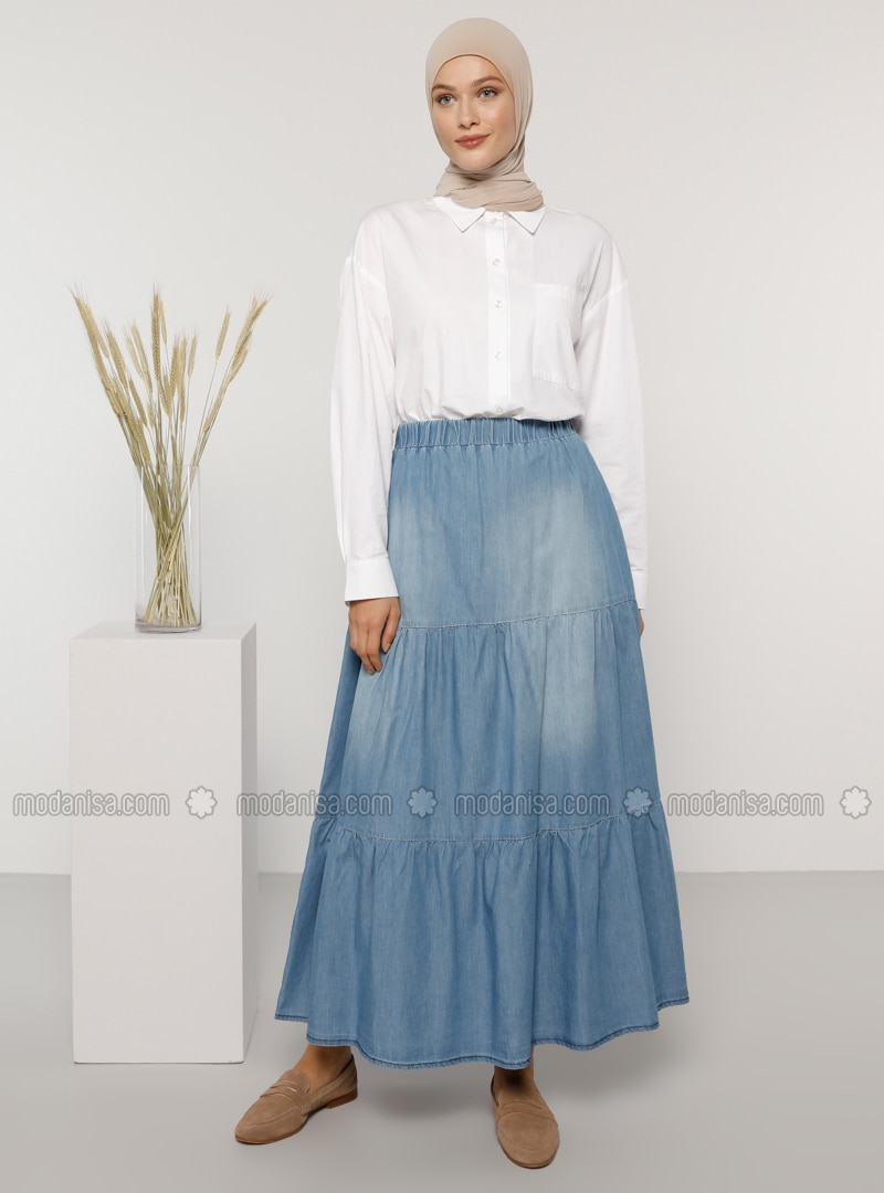 Blue - Unlined - Denim - Cotton -  - Skirt