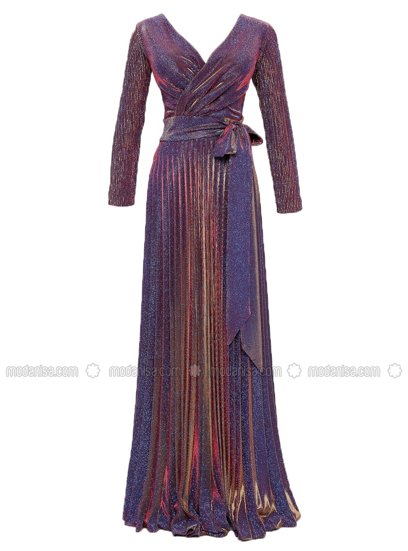 Gold - Blue - Fully Lined - V neck Collar - Muslim Evening Dress