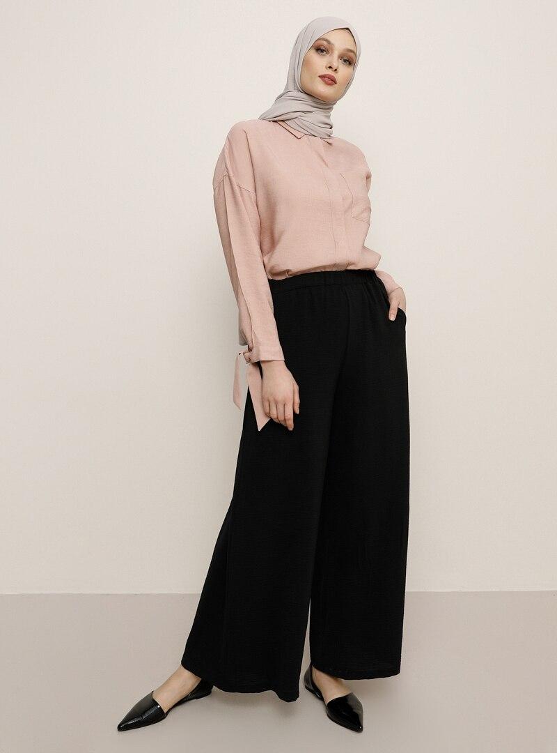 Tesettür Pantolon Etek Refka Siyah Kadın 40