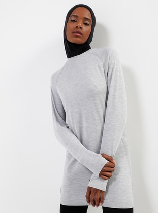 Gray - Crew neck -Seamless Tracksuit Top