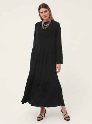 Oversize Natural Fabric Crew-Neck Dress - Black