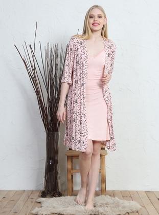 Pink - Viscose - Morning Robe - VIENETTA