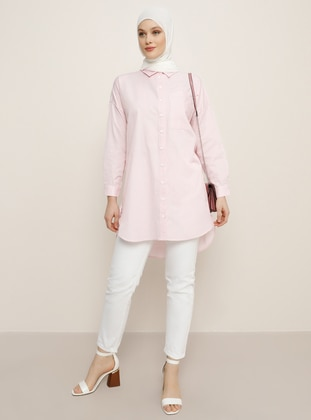 Pink - Stripe - Point Collar -  - Tunic