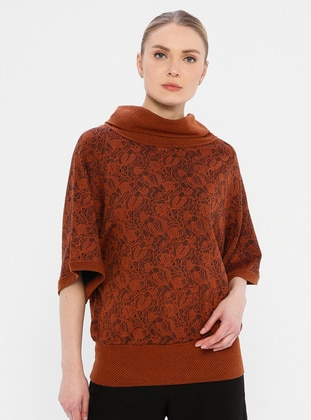 Orange - Multi - Polo neck - Viscose - Tunic