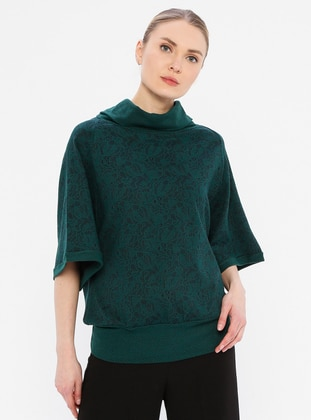Green - Multi - Polo neck - Viscose - Tunic