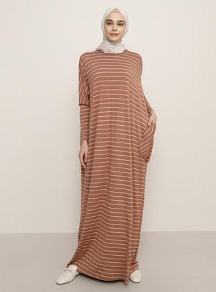 Tan - Crew neck - Unlined - Viscose - Dress