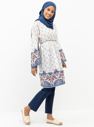 White - Multi - Crew neck - Viscose - Tunic
