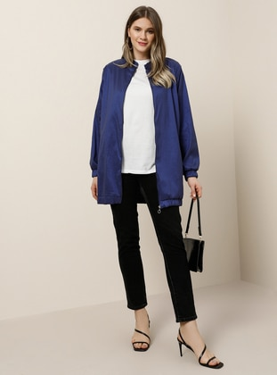Saxe - Unlined - Crew neck - Plus Size Coat