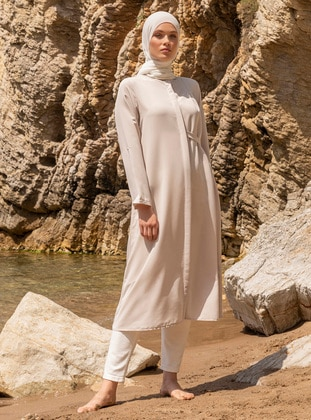 Beige - Stone - Button Collar - Tunic
