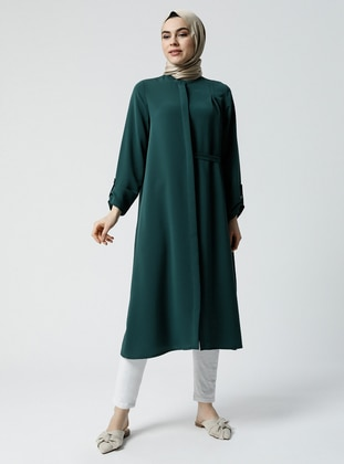 Green - Emerald - Button Collar - Tunic - Refka