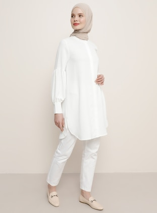 White - Ecru - Button Collar - Tunic