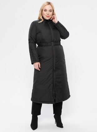 Black - Fully Lined - Plus Size Overcoat - MİCCA