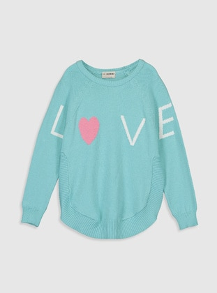 Printed - Crew neck - Turquoise - Girls` Pullovers