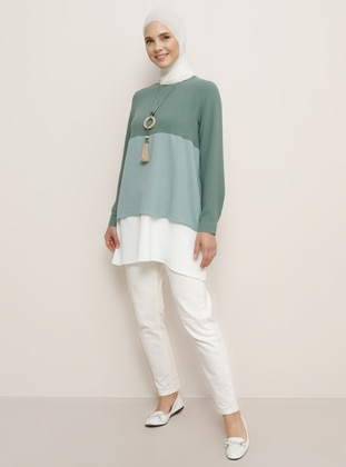 Green Almond - Ecru - Green - Crew neck - Tunic