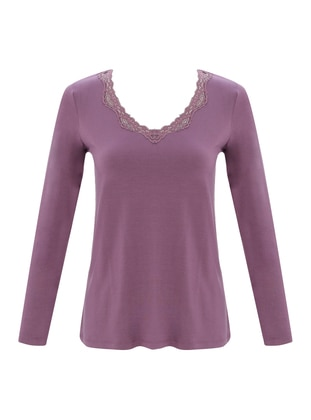 Purple - V neck Collar - Modal - Pyjama