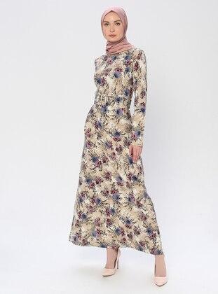 Navy Blue - Mink - Floral - Crew neck - Unlined -  - Dress