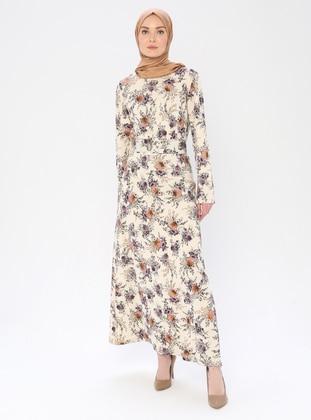 Plum - Mink - Floral - Crew neck - Unlined -  - Dress