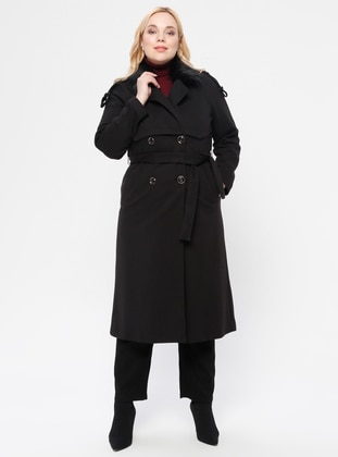Black - Fully Lined - Shawl Collar - V neck Collar - Coat