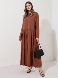Tütün - Astarsız kumaş - Yuvarlak yakalı - Viskon - Büyük Beden Elbise