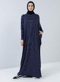Lacivert - Çizgili - Yuvarlak yakalı - Astarsız kumaş - Viskon - Elbise
