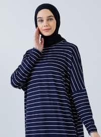 Navy Blue - Stripe - Crew neck - Unlined - Viscose - Dress